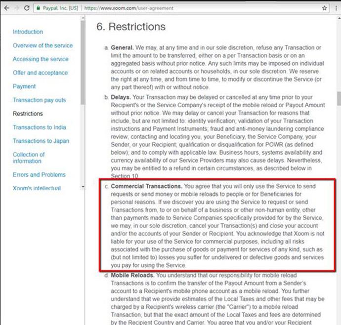 xoom-restriction